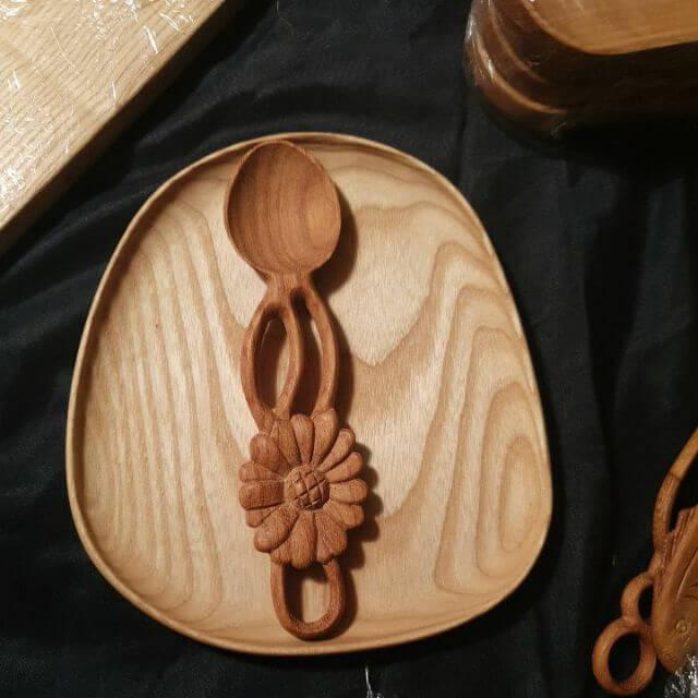 Thìa muỗng gỗ hoa cúc đơn trang trí