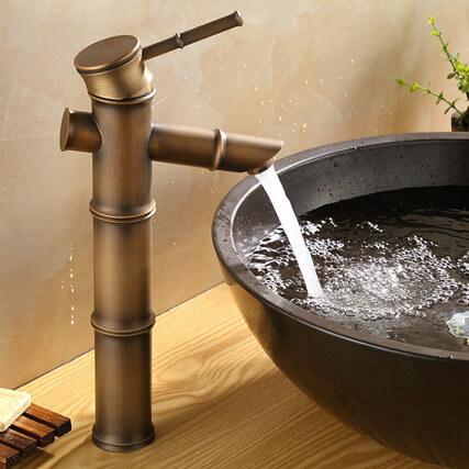Vòi nước chậu rửa mặt lavabo giả cổ hình cây tre GCA02