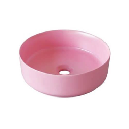 Chậu lavabo sứ màu hồng CSN02