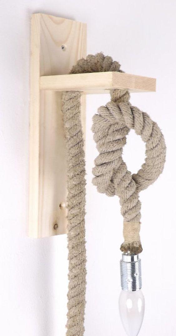 cách làm đèn ngủ bằng gỗ treo tường với dây thừng
