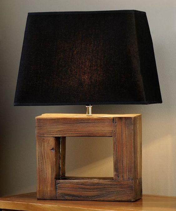 làm đèn ngủ bằng gỗ để bàn với chụp đèn