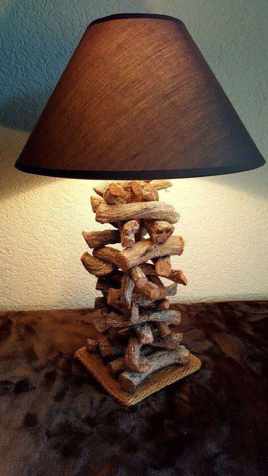 làm đèn ngủ bằng gỗ để bàn với thanh gỗ vụn
